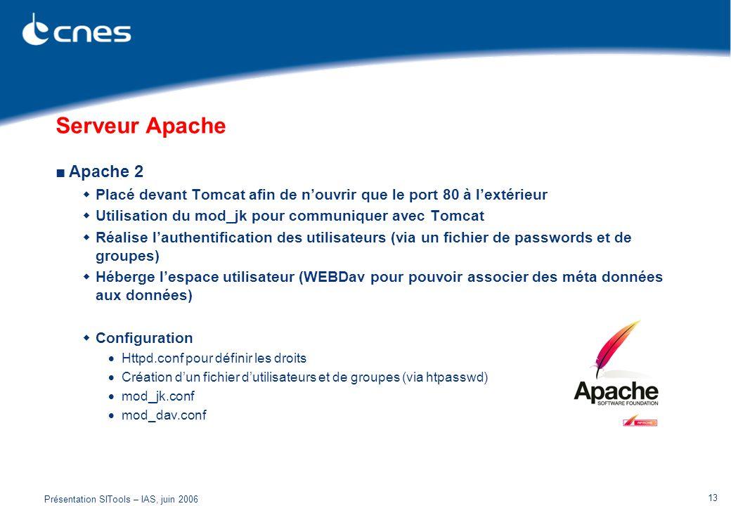 Serveur Apache Apache 2. Placé devant Tomcat afin de n'ouvrir que le port 80 à l'extérieur. Utilisation du mod_jk pour communiquer avec Tomcat.