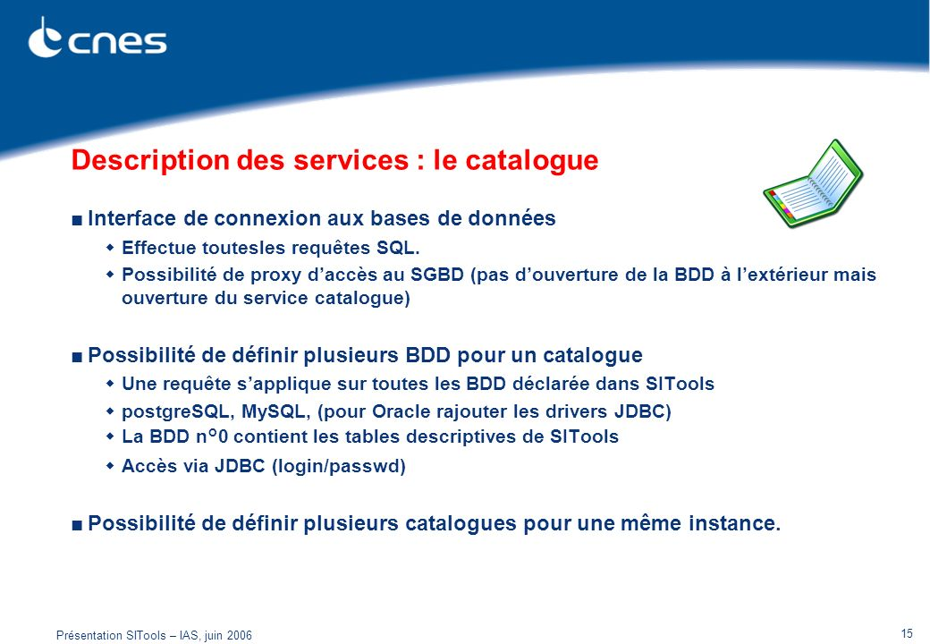 Description des services : le catalogue