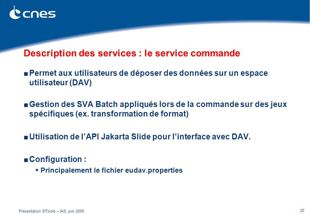 Description des services : le service commande