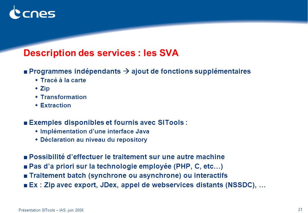 Description des services : les SVA