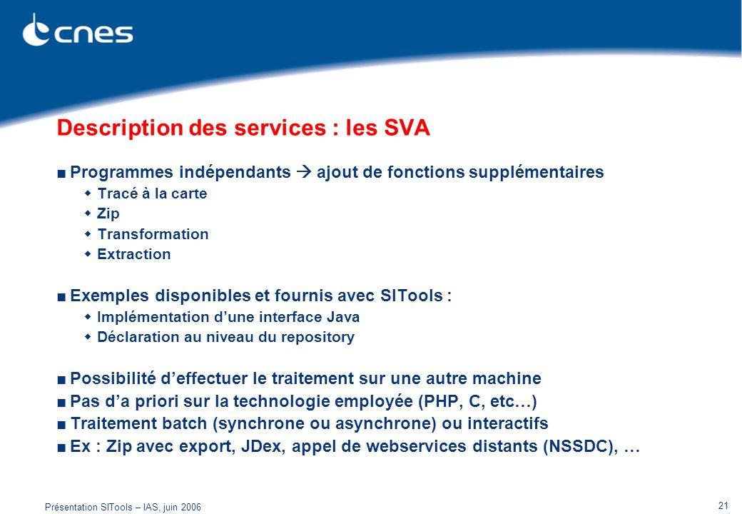 Description des services : les SVA