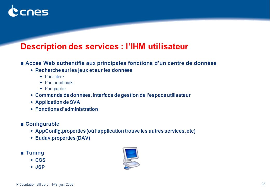 Description des services : l'IHM utilisateur