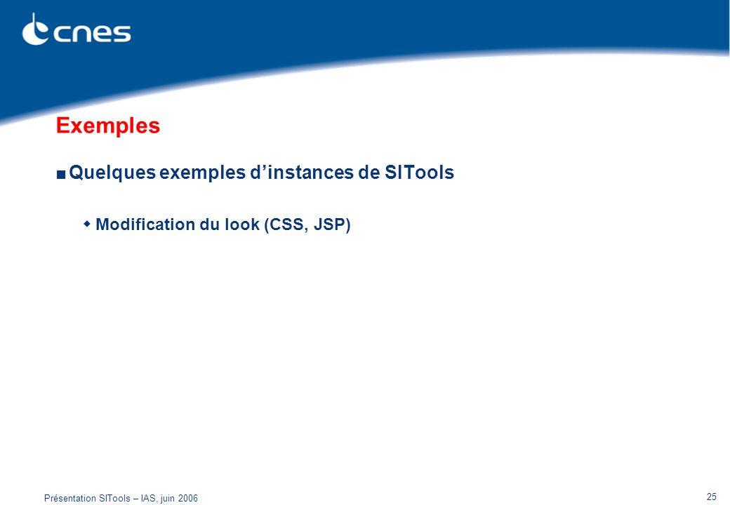 Exemples Quelques exemples d'instances de SITools