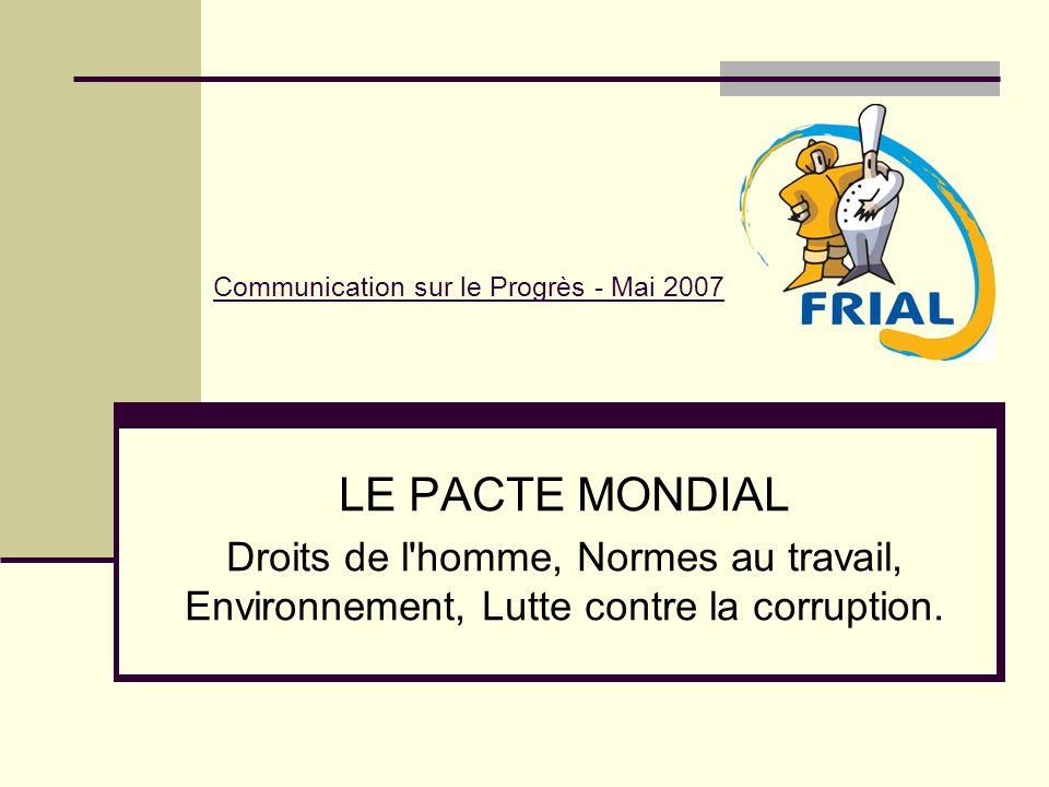 Communication sur le Progrès - Mai 2007