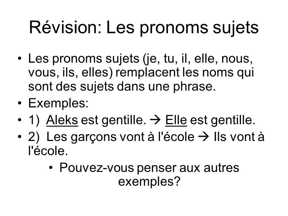 Révision: Les pronoms sujets