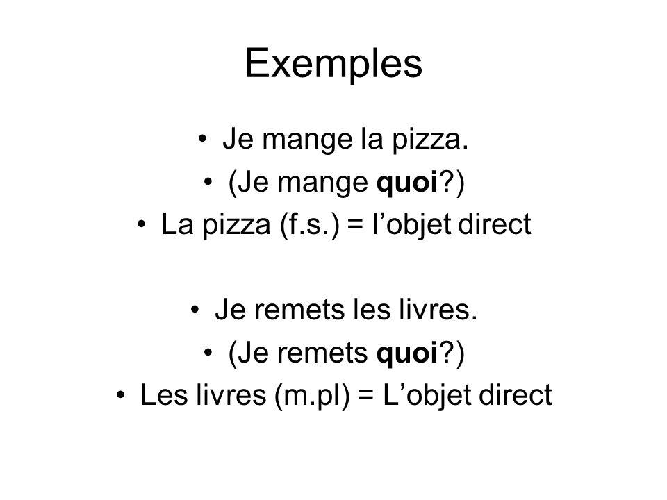Exemples Je mange la pizza. (Je mange quoi )