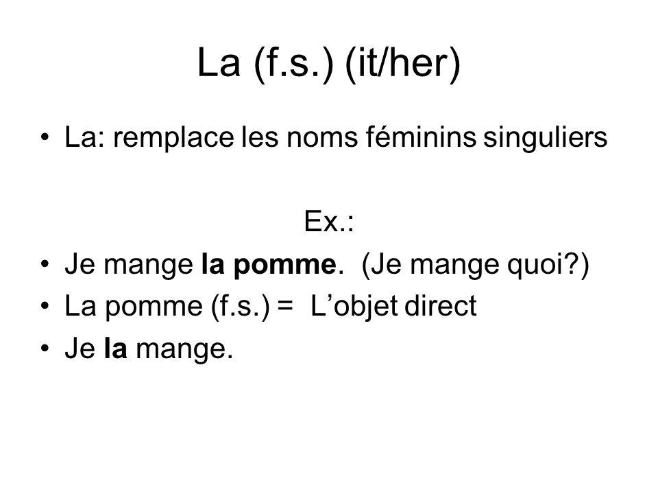 La (f.s.) (it/her) La: remplace les noms féminins singuliers Ex.: