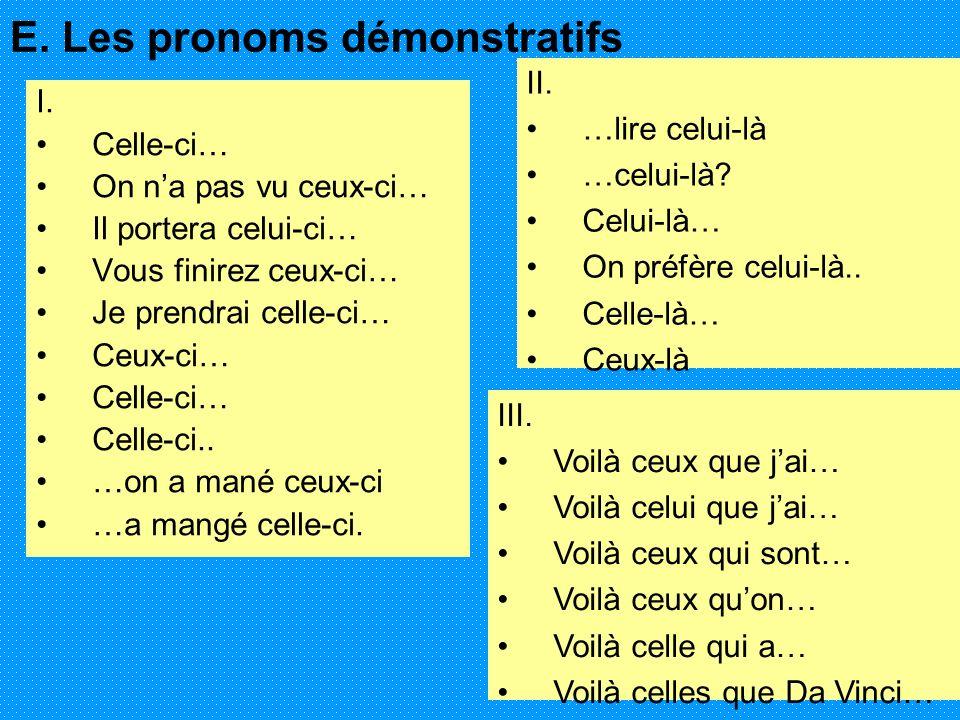 E. Les pronoms démonstratifs