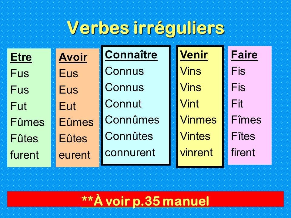 Verbes irréguliers **À voir p.35 manuel Connaître Connus Connut