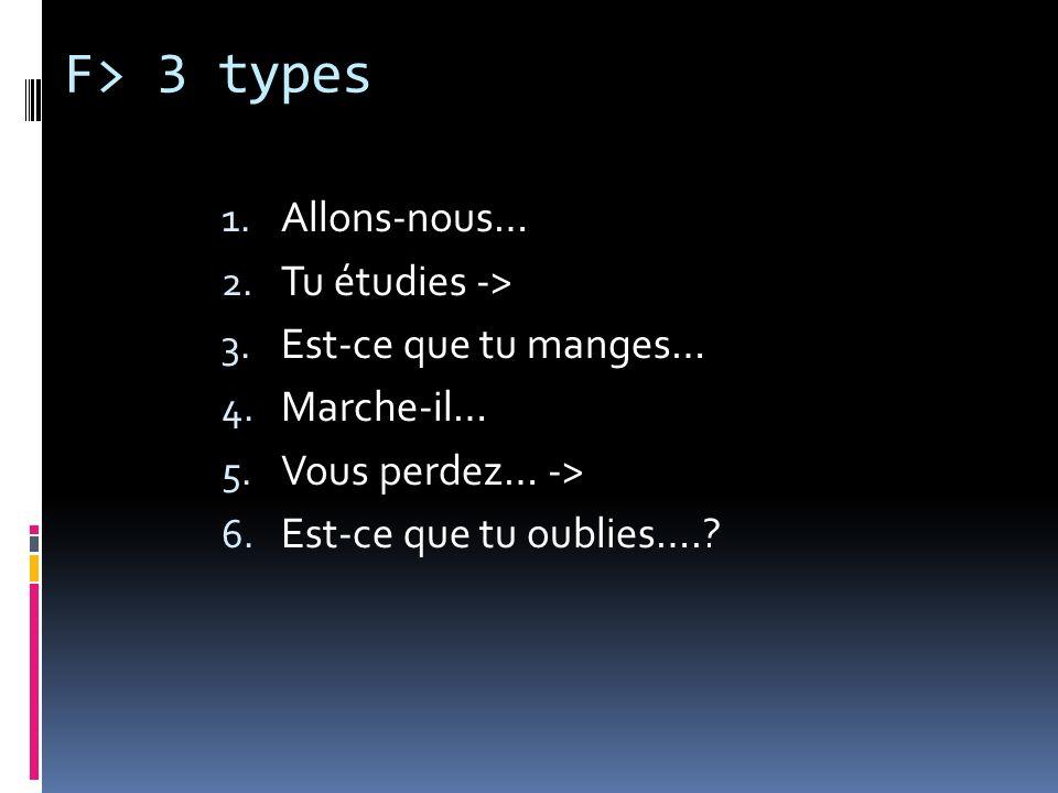 F> 3 types Allons-nous… Tu étudies -> Est-ce que tu manges…