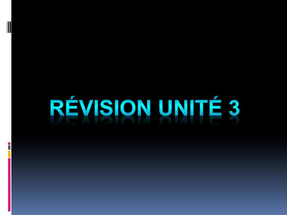 Révision Unité 3
