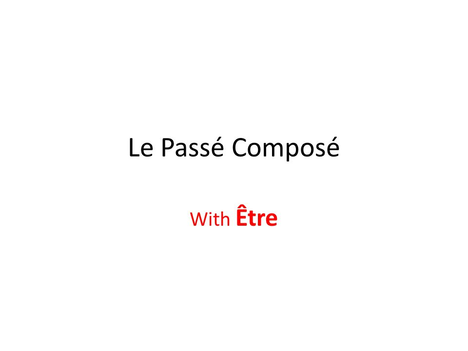 Le Passé Composé With Être