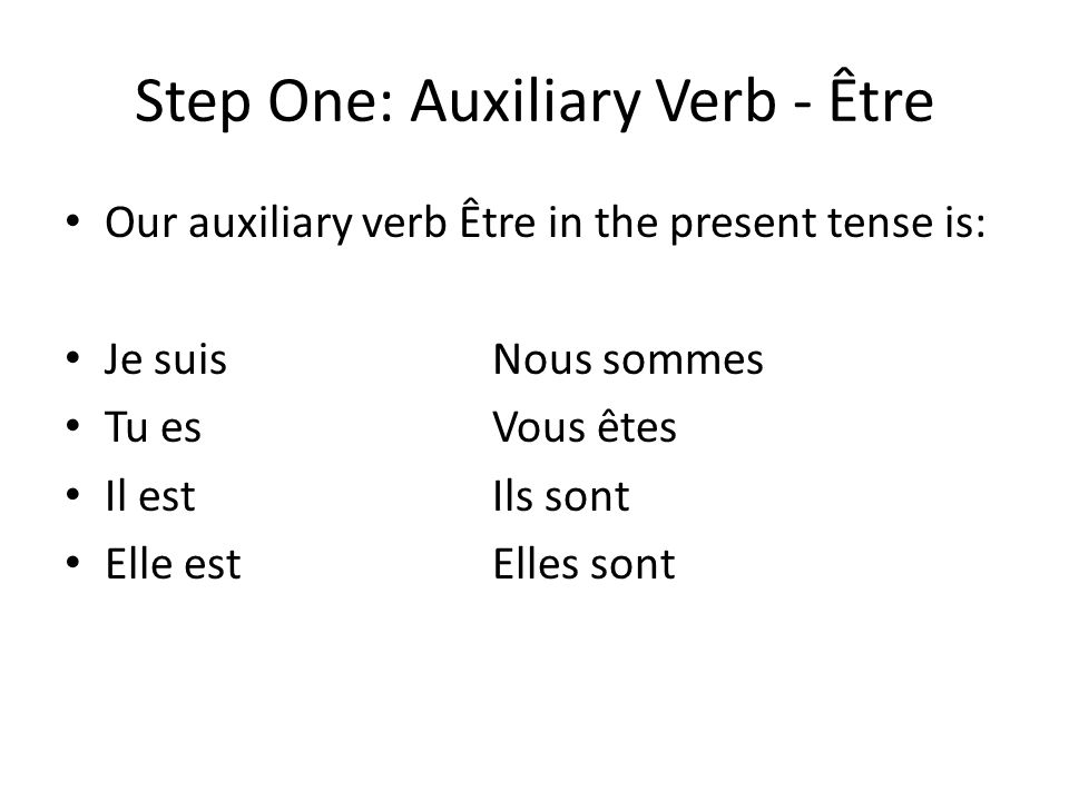 Step One: Auxiliary Verb - Être