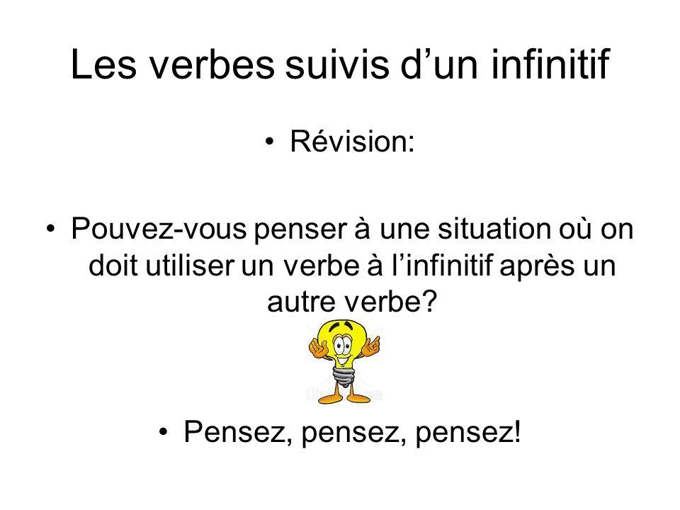 Les verbes suivis d'un infinitif