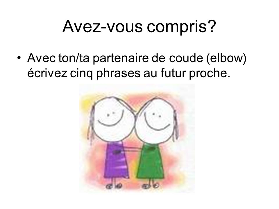Avez-vous compris Avec ton/ta partenaire de coude (elbow) écrivez cinq phrases au futur proche.