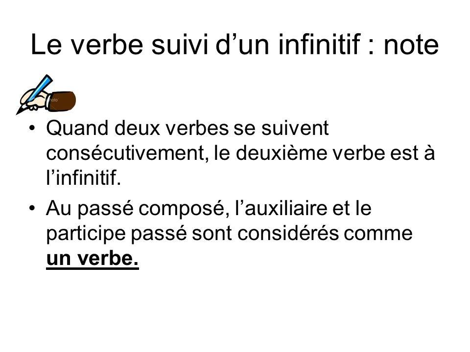 Le verbe suivi d'un infinitif : note