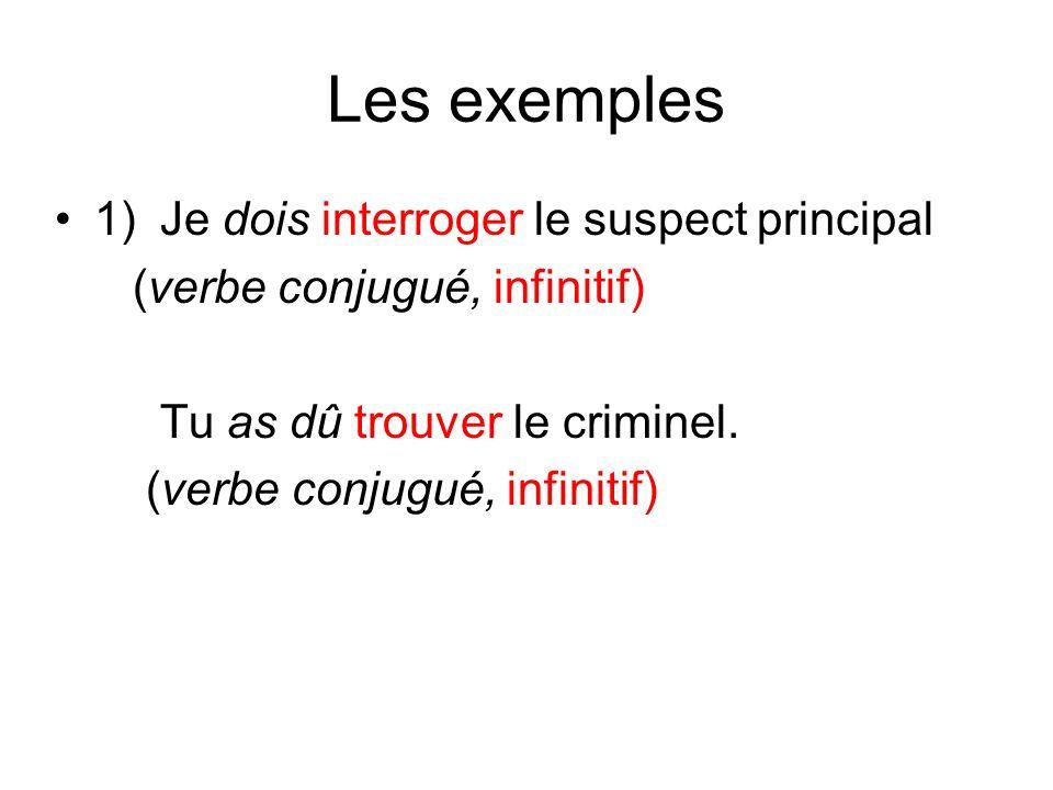 Les exemples 1) Je dois interroger le suspect principal