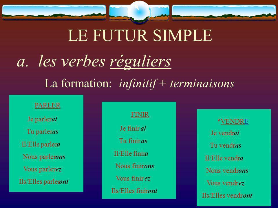 LE FUTUR SIMPLE a. les verbes réguliers