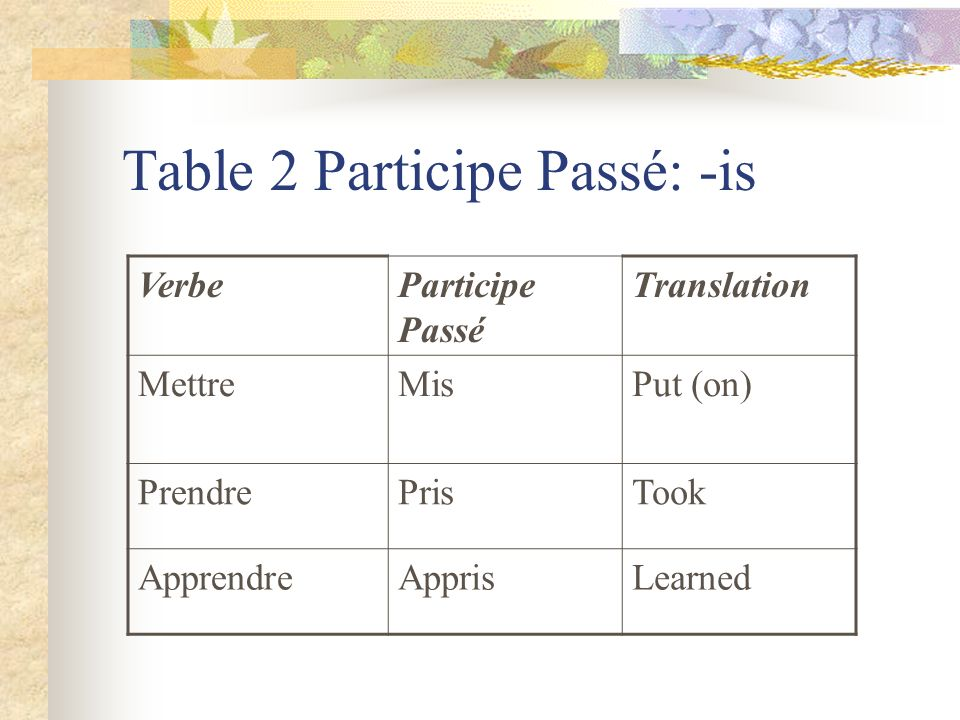 Table 2 Participe Passé: -is