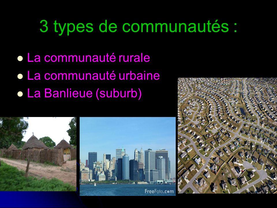 3 types de communautés : La communauté rurale La communauté urbaine