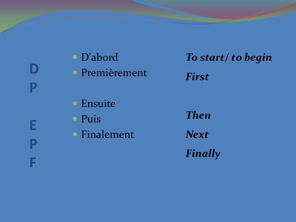 D P E P F D abord Premièrement Ensuite Puis Finalement