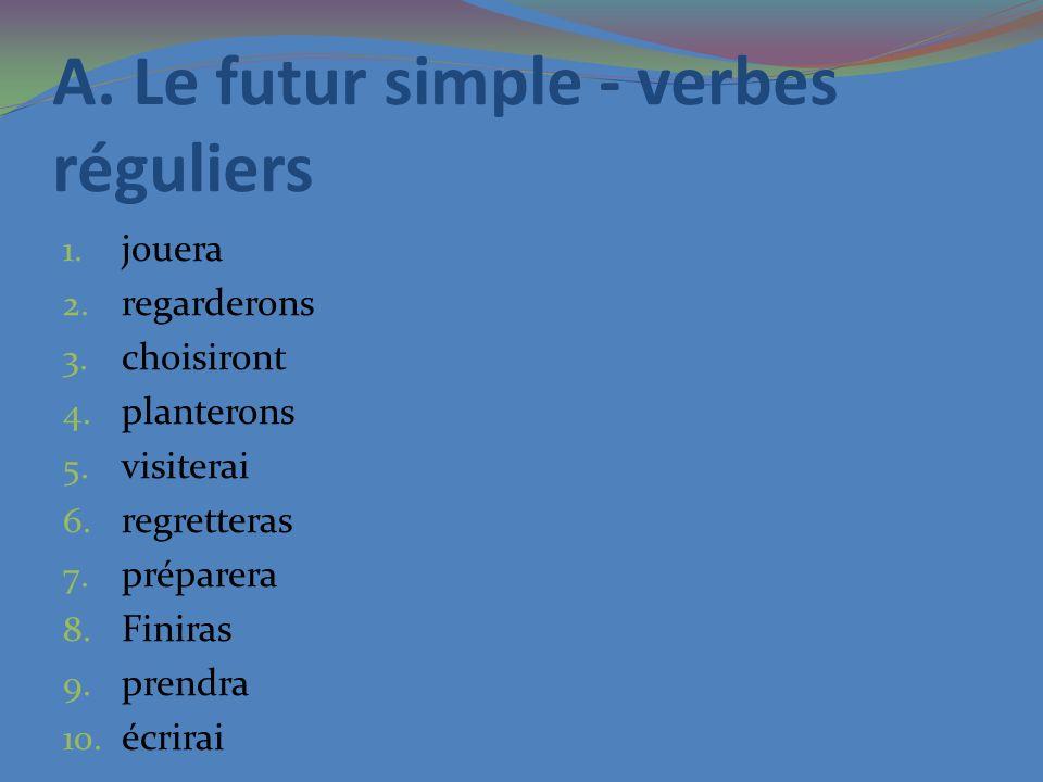 A. Le futur simple - verbes réguliers