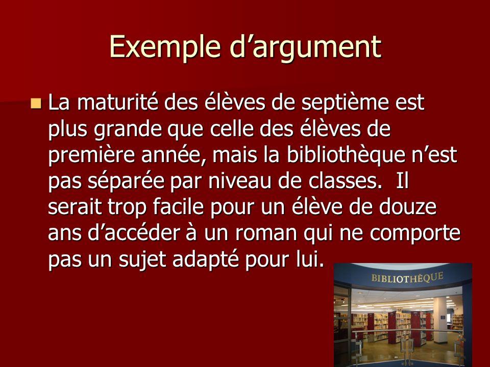Exemple d'argument