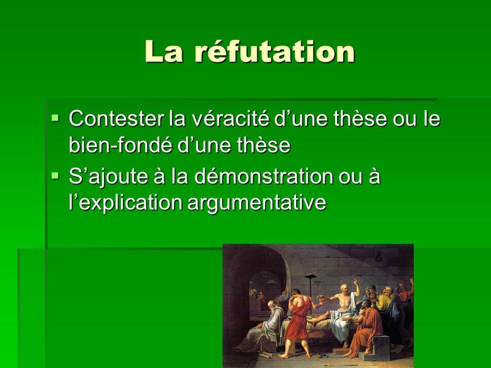 La réfutation Contester la véracité d'une thèse ou le bien-fondé d'une thèse.