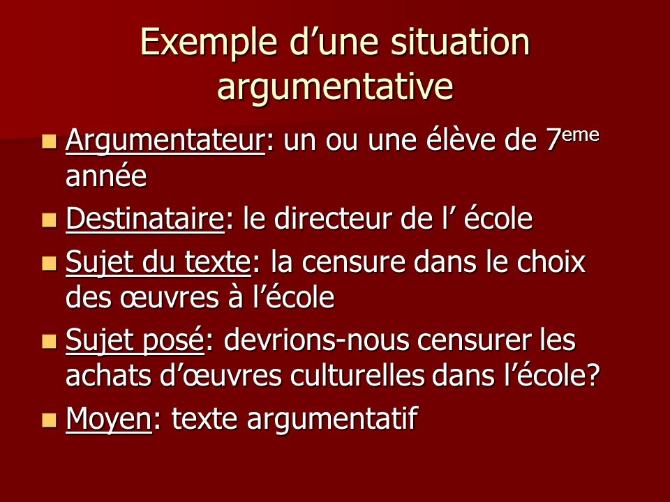 Exemple d'une situation argumentative