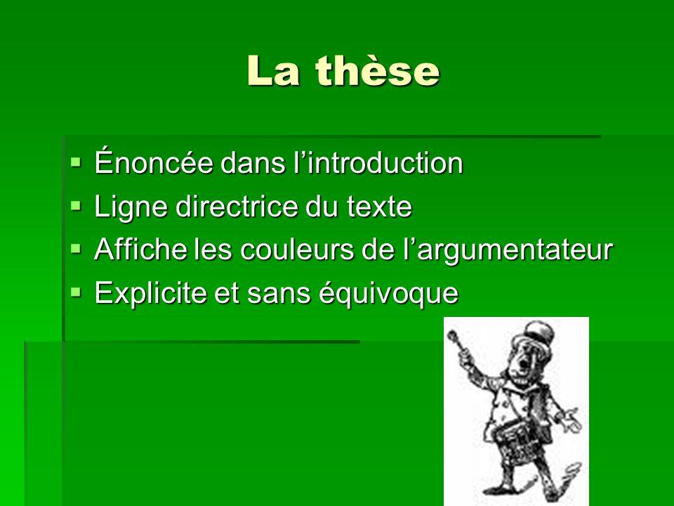 La thèse Énoncée dans l'introduction Ligne directrice du texte