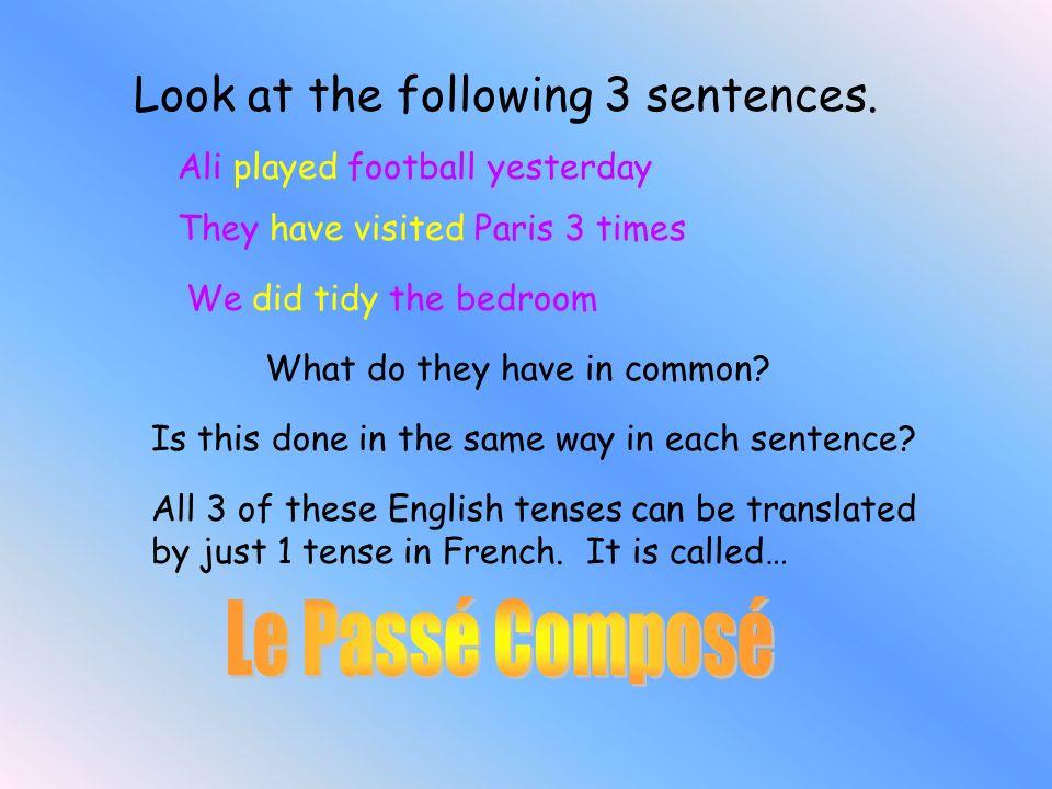 Le Passé Composé Look at the following 3 sentences.