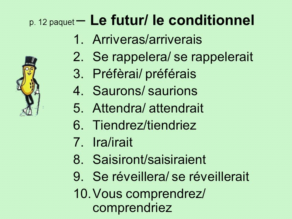 p. 12 paquet – Le futur/ le conditionnel