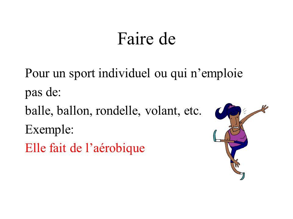 Faire de Pour un sport individuel ou qui n'emploie pas de: balle, ballon, rondelle, volant, etc.