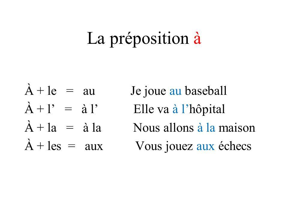 La préposition à