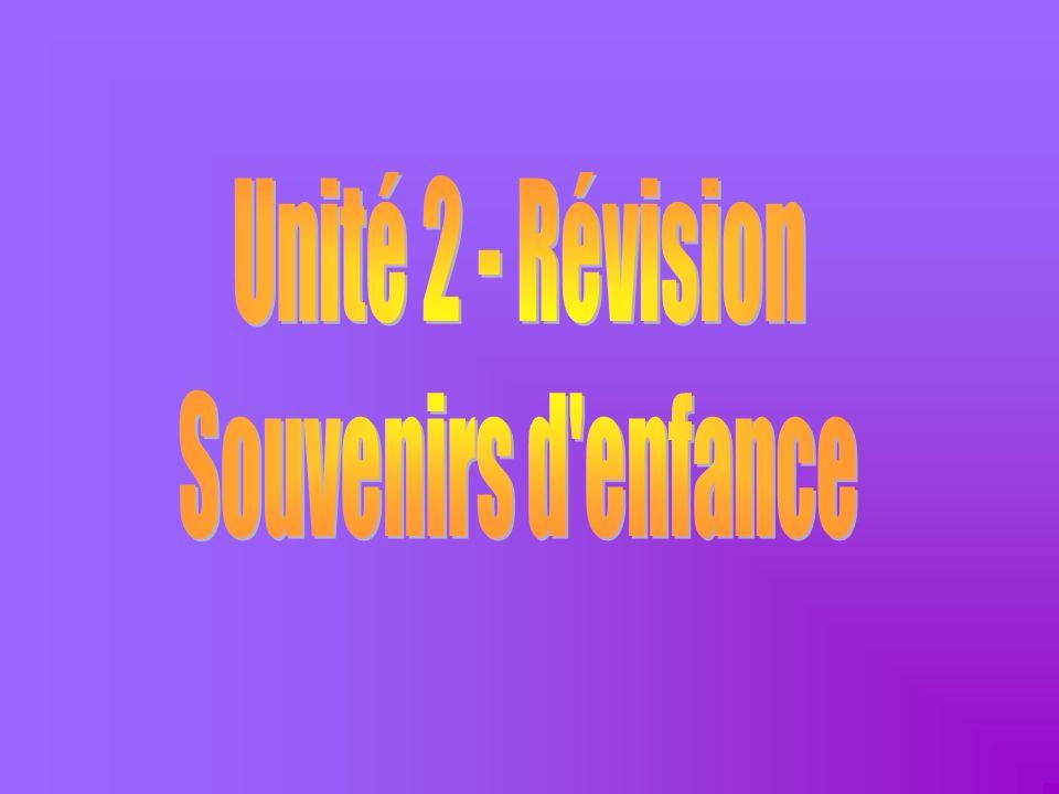 Unité 2 - Révision Souvenirs d enfance