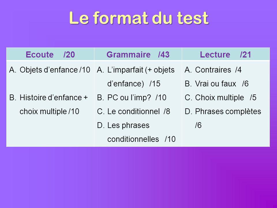Le format du test Ecoute /20 Grammaire /43 Lecture /21