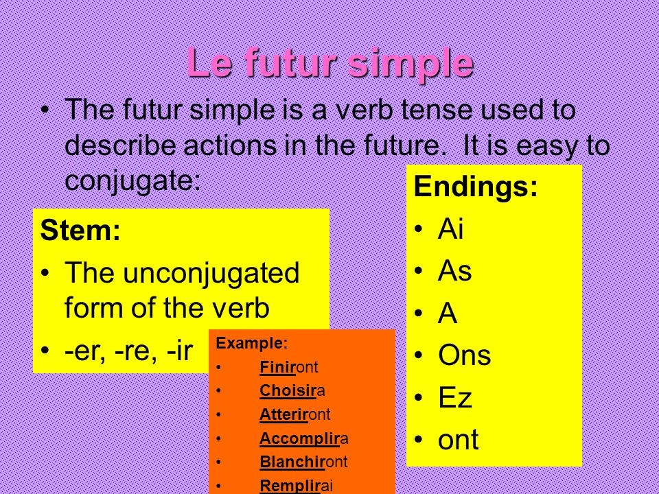 Le futur simple The futur simple is a verb tense used to describe actions in the future. It is easy to conjugate:
