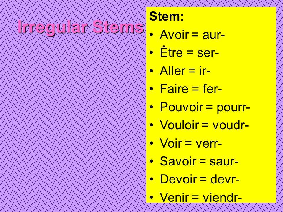 Irregular Stems Stem: Avoir = aur- Être = ser- Aller = ir-