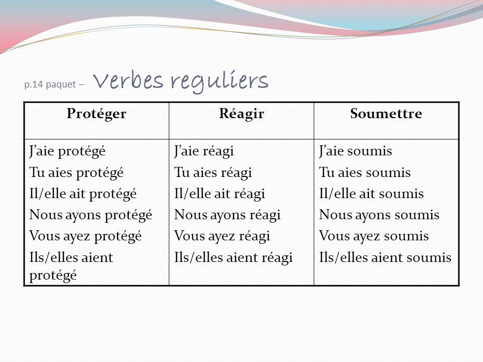 p.14 paquet – Verbes reguliers