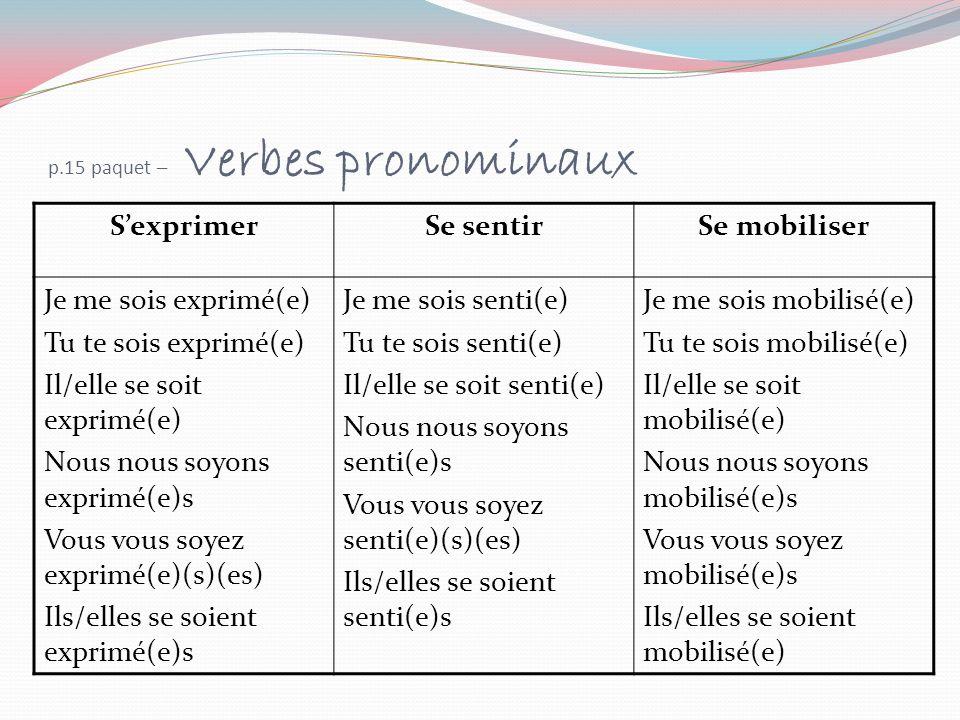 p.15 paquet – Verbes pronominaux