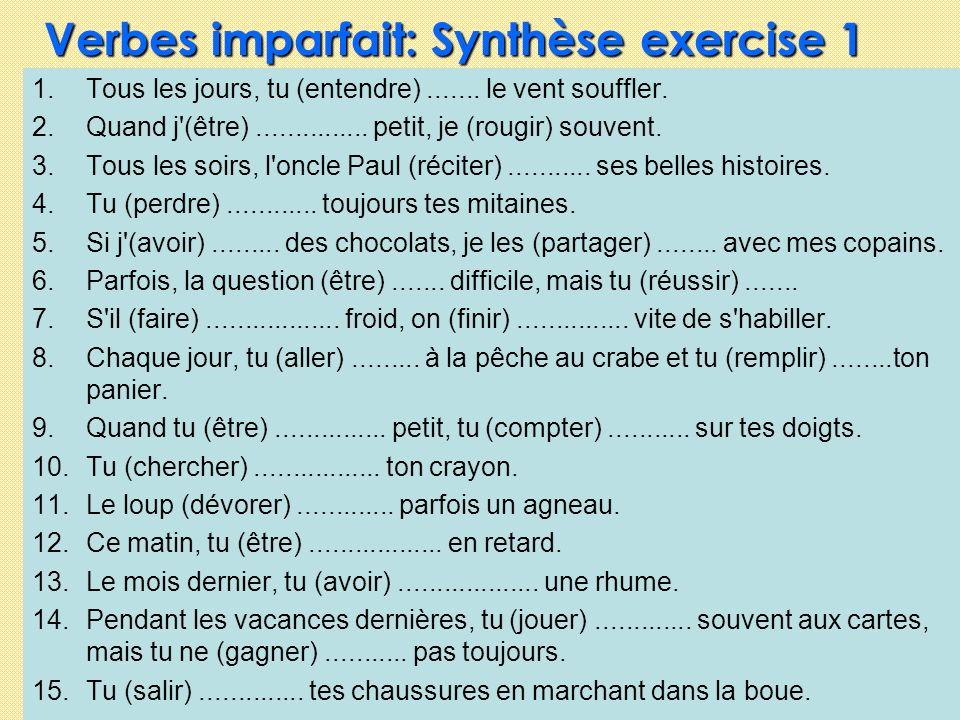 Verbes imparfait: Synthèse exercise 1