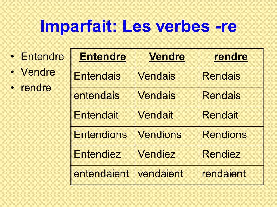 Imparfait: Les verbes -re