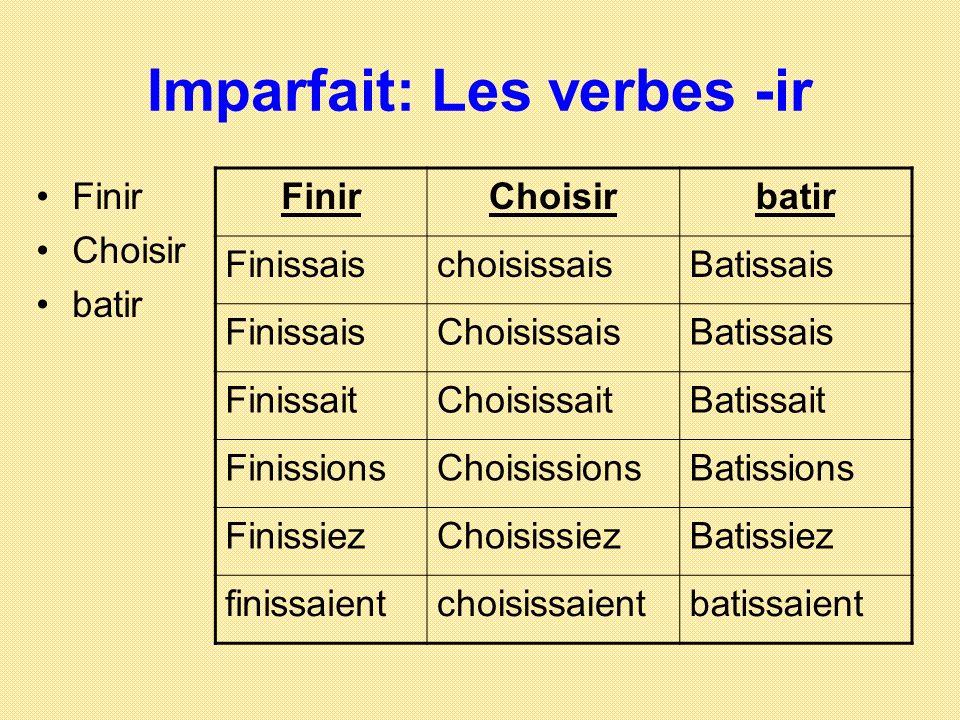 Imparfait: Les verbes -ir