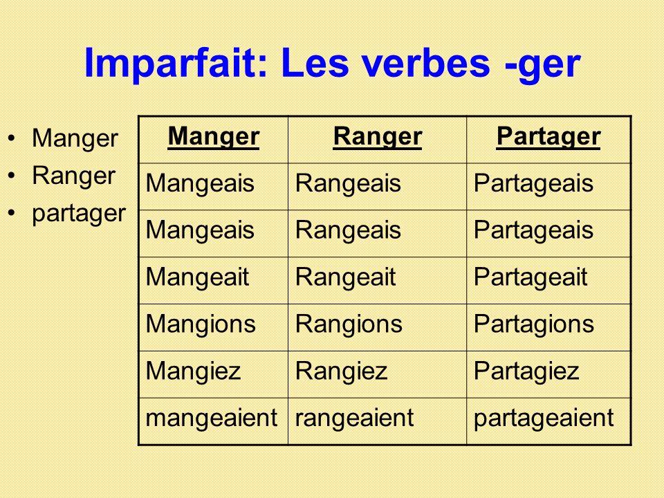 Imparfait: Les verbes -ger