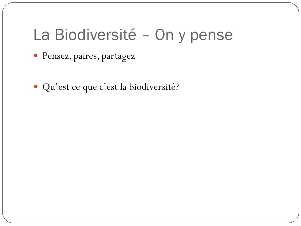 La Biodiversité – On y pense