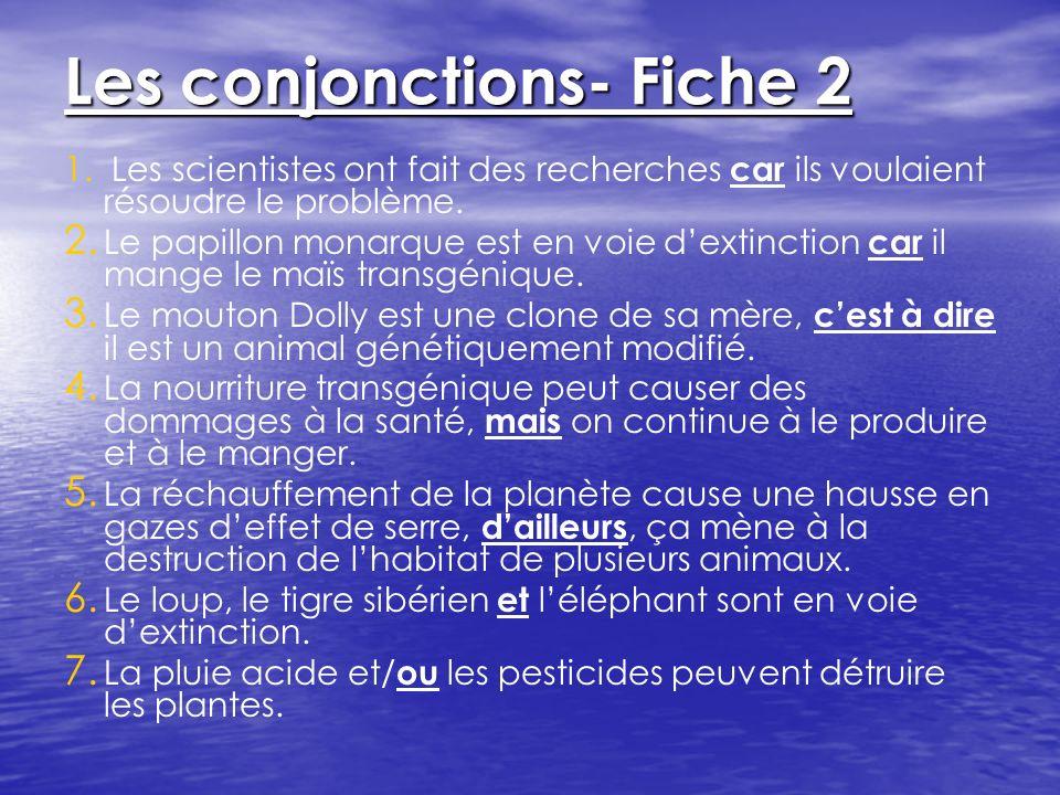 Les conjonctions- Fiche 2