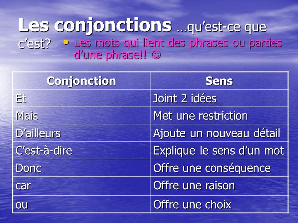 Les conjonctions …qu'est-ce que c'est