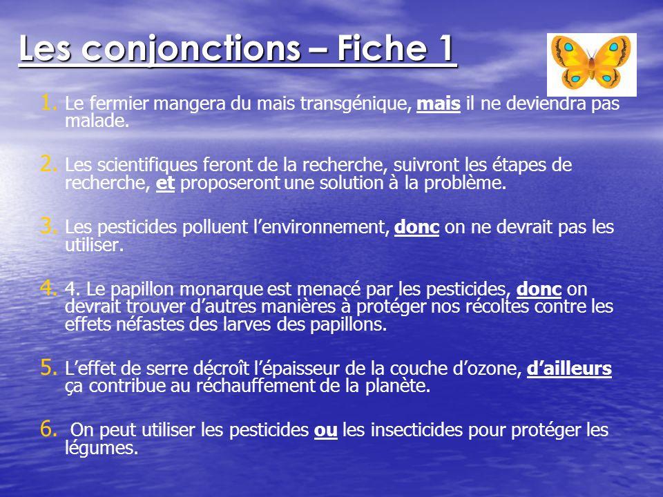 Les conjonctions – Fiche 1