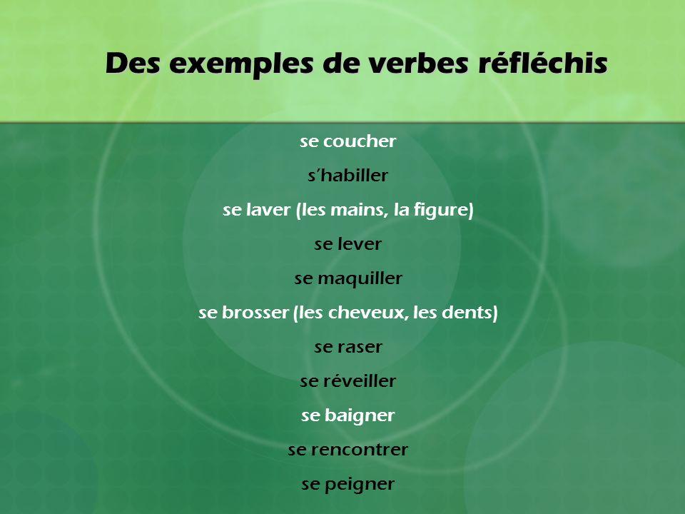 Des exemples de verbes réfléchis