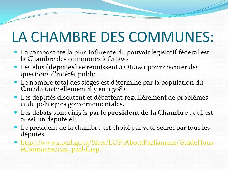 LA CHAMBRE DES COMMUNES: